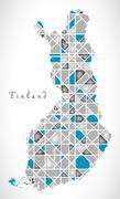 Finland Map crystal diamond style artwork Stock Illustration