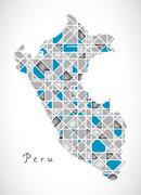 Peru Map crystal diamond style artwork Stock Illustration