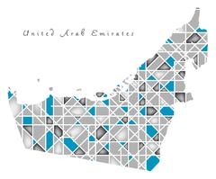 United Arab Emirates Map crystal diamond style artwork Stock Illustration
