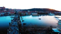 View from the Charles Bridge Prague, Czech Republic, November, 2016 Stock Footage