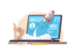 Successful launch of startup Stock Illustration