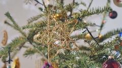 Beautiful Christmas tree, traditional decorations, lights Stock Footage