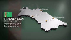 3D animated Map of Turkmenistan Stock Footage