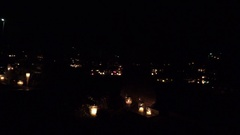 Night candle lights before day of all dead at cemetery. 4K Stock Footage