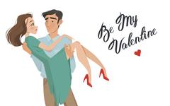 Man holds girl in his arms. Lovers. Valentine's Day. Cartoon style. Boy and Stock Illustration