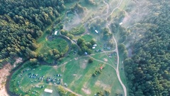 Beautiful view of the river in forest from the bird's-eye view. Stock Footage
