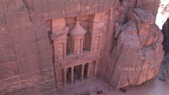 City of Petra, top view from the mountain in front of the place Al-Khazneh Stock Footage