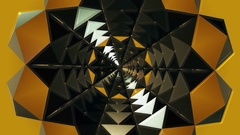 Kaleidoscope tunnel in yellow color Stock Footage
