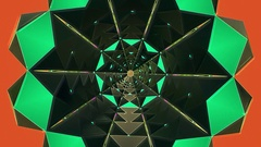 Kaleidoscope tunnel in green color Stock Footage