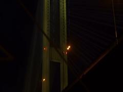 Night bridge view,smooth camera movement, vertigo Stock Footage