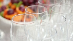 Wedding stemware and fruite Stock Footage