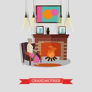 Vector illustration of grandmother sitting in armchair at the fireplace Piirros