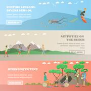 Vector set of water sports, outdoor activity concept horizontal banners Stock Illustration