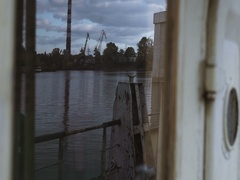 View of the industrial zone from side, old ship Stock Footage