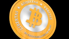 Spinning Bitcoin cryptography digital currency. Close up on coin engravings. Stock Footage