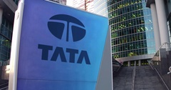 Street signage board with Tata Group logo. Modern office center skyscraper and Stock Footage
