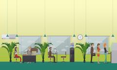 Vector illustration of bank office staff and clients, flat design Piirros