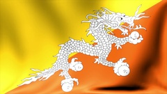 Bhutan Flag. Background Seamless Looping Animation. 4K High Definition Video Stock Footage