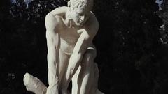 Classical greek sculpture/statue,crane steadicam motion cu 100fps Stock Footage