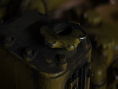 Oil reservoir in the engine room, old ship Stock Footage