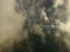 Fly through the clouds. Aerial drone smooth filming above puffy clouds. Stock Footage