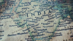 India Old Vintage Paper Map Stock Footage