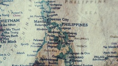 Philippines Old Vintage Paper Map Stock Footage
