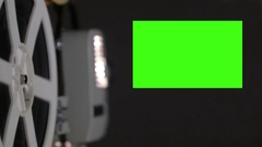 Film projector 19 x 9 aspect ratio chroma key green screen natural dust and Stock Footage