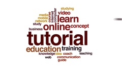 Tutorial animated word cloud, text design animation. Stock Footage