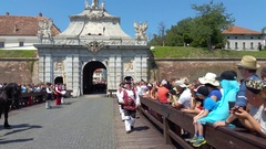 Guards changing ceremony, Alba Iulia, Romania Stock Footage
