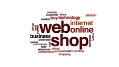 Web shop animated word cloud, text design animation. Stock Footage