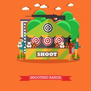Vector illustration of shooting range attraction in flat style Stock Illustration