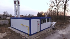 Heat supply. Aerial shot of contemporary block-modular boiler house. Russia. 4K Stock Footage