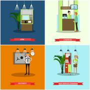 Vector set of banking concept design elements in flat style Piirros