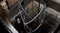 Steel construction for elevator inside the Old Town Hall Tower, Prague Stock Footage