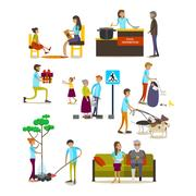 Vector set of volunteers icons isolated, flat style design Piirros