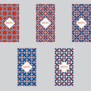 Vector set seamless red-blue design texture menu Vintage ornament or geometric Stock Illustration