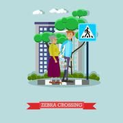 Vector illustration of man helping elderly woman to cross street Stock Illustration