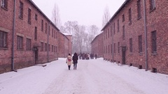 Guided tour to Auschwitz Birkenau Nazi concentration camp Stock Footage