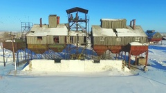 Grain construction in industrial zone Stock Footage