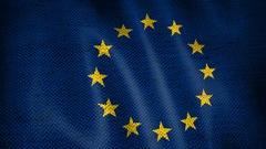 Burlap European Union Flag. Stock Footage