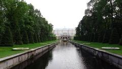 Nice Marine Canal perspective at evening, Peterhof lower gardens Stock Footage