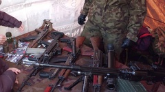 KRAKOW, POLAND -People examine old Soviet weapons at military Stock Footage