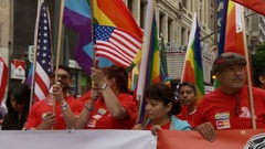 Latino and LGBTQ March Together Stock Footage