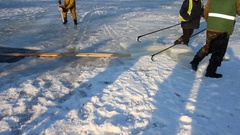View of sculptor carving ice. Movement Stock Footage
