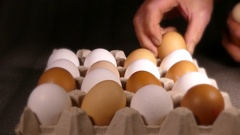 Man's hands placing eggs into a cardboard carton. Stock Footage