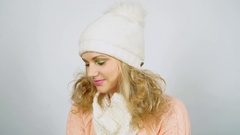 Girl in hat on white background Stock Footage