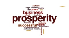 Prosperity animated word cloud, text design animation. Stock Footage