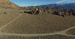 A gorgeous aerial drone shot of the Alabama Hills near Lone Pine, California Stock Footage