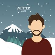 Man bearded winter sport alps mountains snow Piirros
